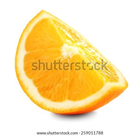 Juicy slice of orange isolated on white - stock photo