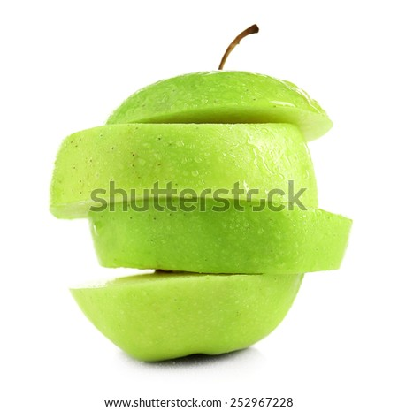 Juicy slices of apple isolated on white - stock photo