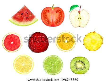 juicy slices of fruit on a white background - stock photo