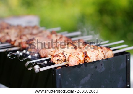 Juicy slices of meat with sauce prepare on fire (kebab)  - stock photo