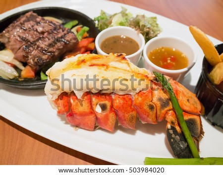 Juicy steak medium rare beef with lobster