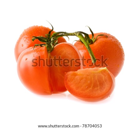 juicy tomatoes on a white background