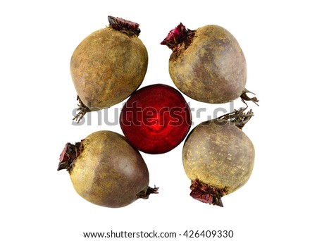 Juicy vegetable beets. Design element isolated on white background
