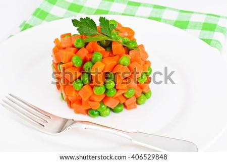 Juicy Vegetable Stew. Lettuce, Peas and Carrots. Diet Food. Studio Photo - stock photo