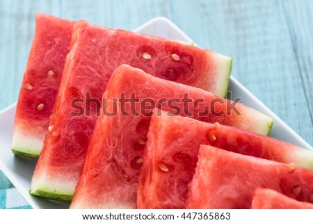 Juicy watermelon summertime food snack on a plate