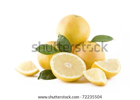 Juicy white grapefruits isolated on white background