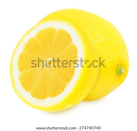 Juicy yellow lemon and slice isolated on a white background - stock photo