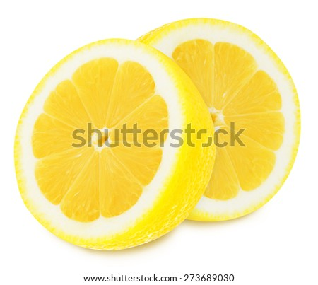 Juicy yellow lemon sections isolated on a white background - stock photo