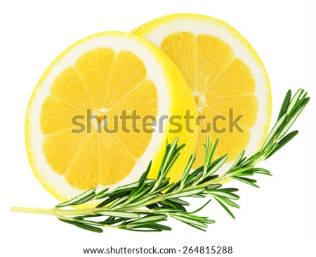 Juicy yellow lemon slices with a sprig of rosemary on a white background isolated - stock photo