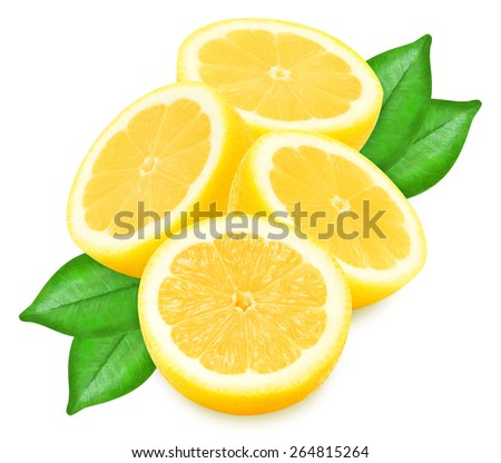 Juicy yellow lemons with leaves on a white background isolated - stock photo