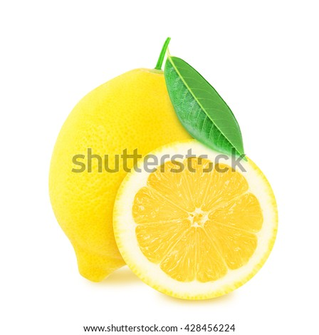 Juicy yellow whole lemon with leaf and half of lemon isolated on a white background. Design element for product label, catalog print, web use. - stock photo