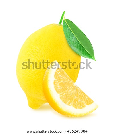 Juicy yellow whole lemon with leaf and slice of lemon isolated on a white background. Design element for product label, catalog print, web use. - stock photo