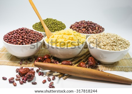 jujube red bean green bean soybean oat Corn products - stock photo