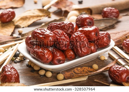 Jujube, red date; Chinese date - stock photo
