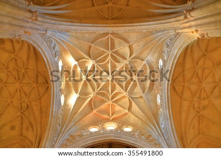 JUL 05 2015: Detail of the ceiling of the Cathedral-fortress of Almeria, Andalusia, Spain