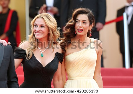 Julia Roberts, Amal Clooney  attend the screening of 'Money Monster' at the annual 69th Cannes Film Festival at Palais des Festivals on May 12, 2016 in Cannes, France.