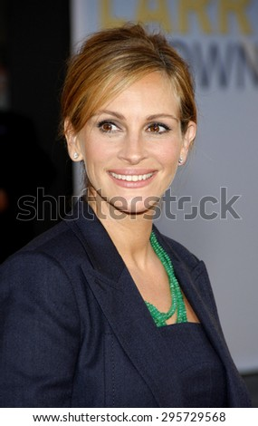 Julia Roberts at the Los Angeles premiere of 'Larry Crowne' held at the Grauman's Chinese Theatre in Hollywood on June 27, 2011.   - stock photo