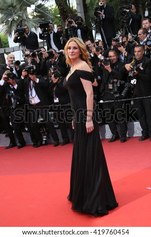 Julia Roberts attends the 'Money Monster' Premiere during the 69th annual Cannes Film Festival on May 12, 2016 in Cannes, France. - stock photo