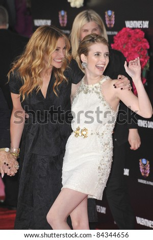 "Julia Roberts (left) & Emma Roberts at the world premiere of ""Valentine's Day"" at Grauman's Chinese Theatre, Hollywood. 02-08-10  Los Angeles, CA By: Paul Smith / Featureflash - stock photo"