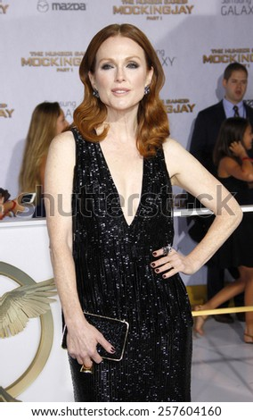 Julianne Moore at the Los Angeles premiere of 'The Hunger Games: Mockingjay - Part 1' held at the Nokia Theatre L.A. Live in Los Angeles on November 17, 2014 in Los Angeles, California.  - stock photo