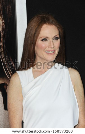 """Julianne Moore at the world premiere of her movie """"Carrie"""" at the Arclight Theatre, Hollywood. October 7, 2013  Los Angeles, CA - stock photo"""