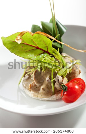 Julienne of Mushrooms with Cherry Tomato and Herbs - stock photo