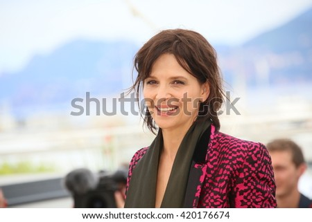 Juliette Binoche attends the 'Slack Bay' (Ma Loute) Photocall during the 69th annual Cannes Film Festival at the Palais des Festivals on May 13, 2016 in Cannes, France. - stock photo