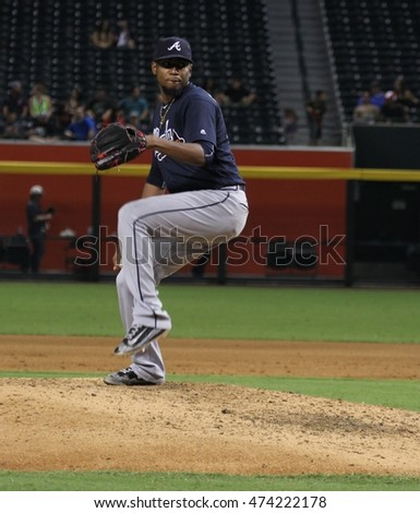 Julio Teheran pitcher for the Atlanta Braves at Chase Field in Phoenix AZ USA 8,24,16.