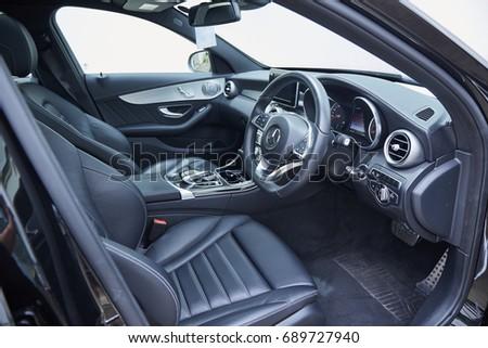 July 2017, Bangkok, Thailand : The interior decoration of Merdedes-Benz c350 e hybrid in garage.