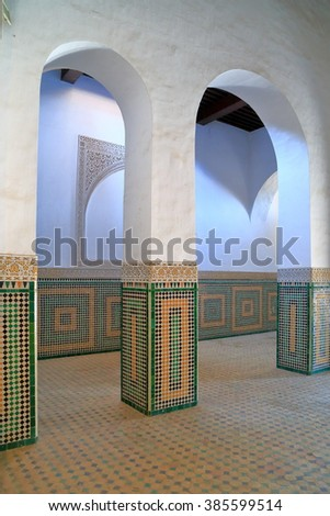 JULY 09, 2015: Berber decorations of a building near the prison of the christian slaves In Meknes, Morocco