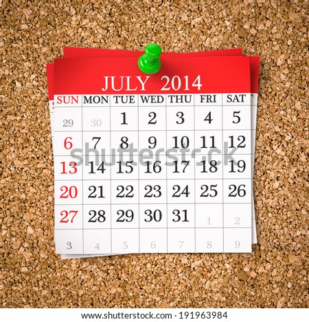 July 2014  Calendar on cork board , 3d render - stock photo