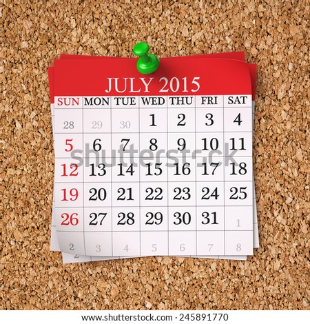 July 2015  Calendar on cork board , 3d render - stock photo