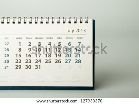July. Calendar sheet. 2013 year calendar - stock photo