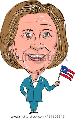 July 25, 2016: Caricature illustration of Democrat president candidate Hillary Clinton for 2016 US elections waving a US flag facing front on isolated background.