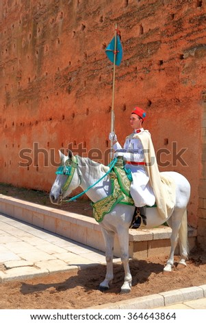 July 10, 2015: Detail of horse riding guard at Hassan Tower in Rabat, Morocco  - stock photo