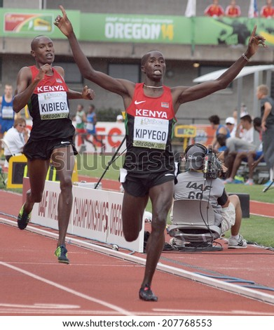 July 27, 2014 Eugene, Oregon - Kenyan teammates Barnabas Kipyego and Titus Kipruto Kibiego claim the gold and silver medals in the 3000m steeplechase at the 2014 IAAF World Junior Championships.