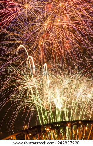 July fourth  (American independence day) fireworks, in Portland, Oregon. Usable for any festive occasion such as New Year's, Diwali etc. - stock photo