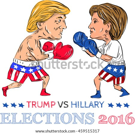 July 28, 2016:Illustration showing as a boxer Republican Donald Trump versus Democrat Hillary Clinton in a boxing match with words Election 2016 done in cartoon style.