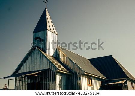 July 10, 2016 - Khust, Ukraine: Greek-Catholic tinned chapel before the morning mess on July 10, 2016 in Khust, Ukraine.  - stock photo