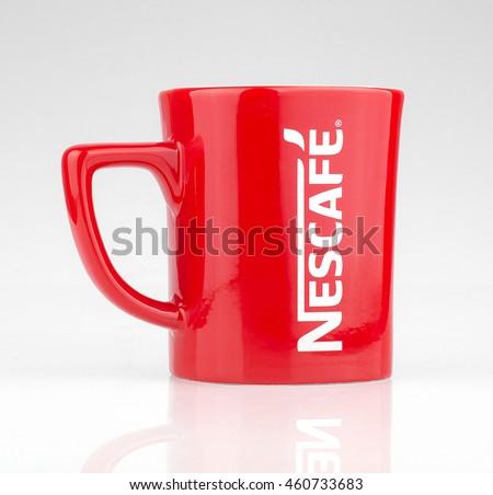 stock photo july lahore promotional red nescafe mug on gray background 460733683 Nescafe Coffee Mug Free Free Stock Photo Of Coffee Mug Nescafe