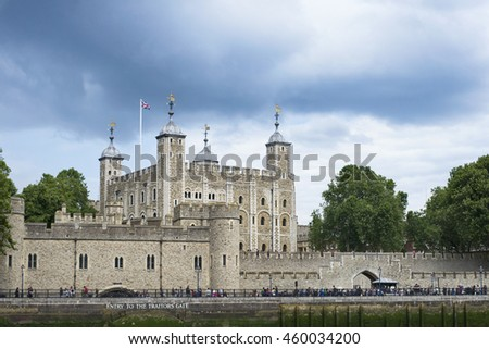 JULY 13, 2016 - LONDON, ENGLAND View of The Tower of London from The Thames.