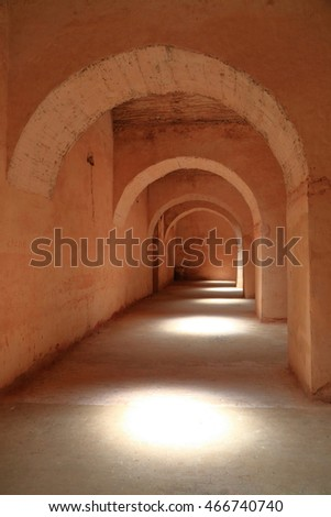 JULY 09, 2015: Round arches of the tunnel of the Prison of the christian slaves In Meknes, Morocco