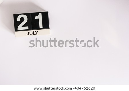 July 21st. Image of july 21 wooden color calendar on white background. Summer day. Empty space for text - stock photo