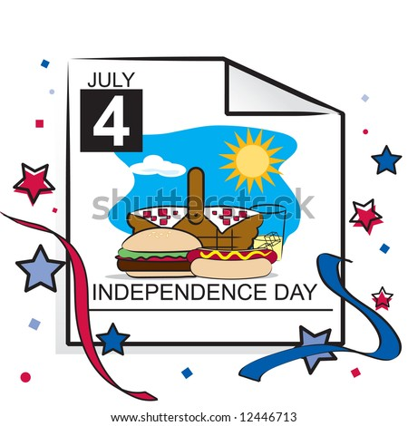 July 4th calendar page with picnic basket and cookout items