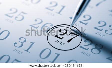 July 27 written on a calendar to remind you an important appointment.