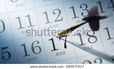 July 17 written on a calendar to remind you an important appointment.