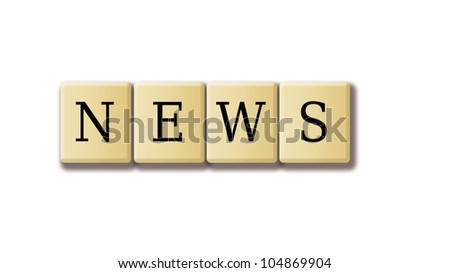 Jumbled wooden Scrabble tiles spelling out the word News - stock photo