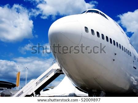 Jumbo Jet in europe airport - stock photo