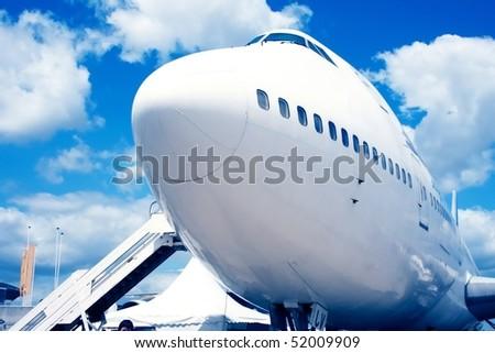Jumbo jet in france airport - stock photo