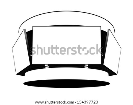 Jumbotron with blank displays isolated on white - stock photo